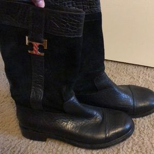 Tory Burch Shoes - Tory Burch Black Leather & Suede Boots
